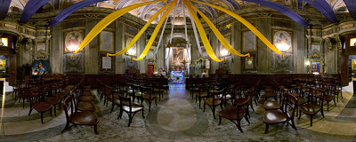 Christmas atmosphere inside the Oratorio del Santissimo Sacramento al Tritone in Rome, Italy.  Click to view this panorama in new fullscreen window