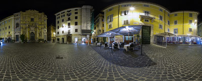 Piazza della Maddalena in the Campo Marzio area of historic Rome, Italy.  Click to view this panorama in new fullscreen window