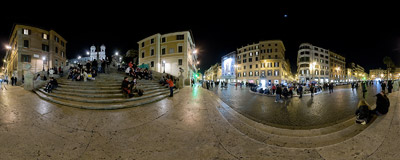 An out-of-season evening on Piazza di Spagna, at the base of the famous Spanish Steps in Rome, Italy.  Click to view this panorama in new fullscreen window