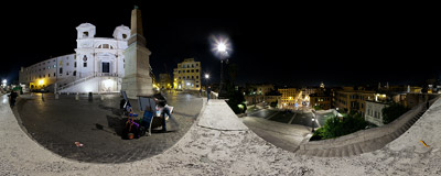 At the top of the famous Spanish Steps in Rome, Italy.  Click to view this panorama in new fullscreen window