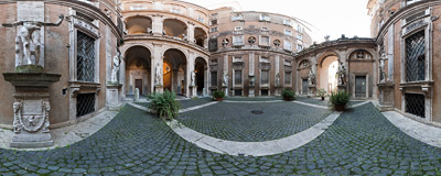 The courtyard of the Palazzo Mattei di Giove in Rome, Italy.  Click to view this panorama in new fullscreen window