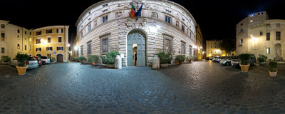 Piazza Capo di Ferro in Rome, in front of the 16th century Palazzo Spada.  Click to view this panorama in new fullscreen window