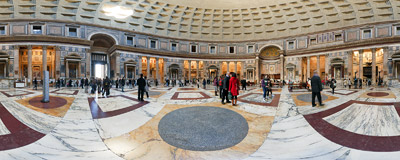 Inside the Pantheon in Rome.  Click to view this panorama in new fullscreen window