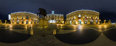 Piazza del Campidoglio, a square designed by Michelangelo on the Capitoline Hill in Rome.  Click to view this panorama in new fullscreen window