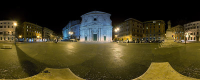 Piazza della Chiesa Nuova ('New Church Square') in Rome, Italy.  Click to view this panorama in new fullscreen window