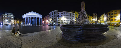 A winter night on Piazza della Rotonda in Rome, just in front of the Pantheon.  Click to view this panorama in new fullscreen window