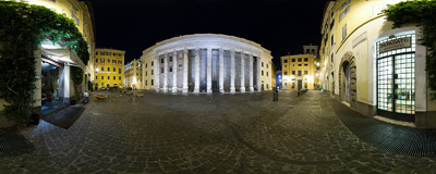 Night on Piazza di Pietra in Rome, Italy.  Click to view this panorama in new fullscreen window