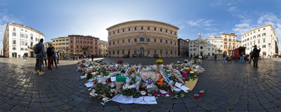 Flowers in front of the French Embassy at Piazza Farnese in Rome, laid in solidarity with the French people after the terrorist attacks in Paris.  Click to view this panorama in new fullscreen window