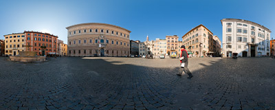 A January morning on Piazza Farnese in Rome, Italy.  Click to view this panorama in new fullscreen window