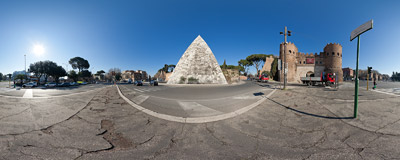 A busy square near the Pyramid of Cestius and the Porta San Paolo in Rome.  Click to view this panorama in new fullscreen window