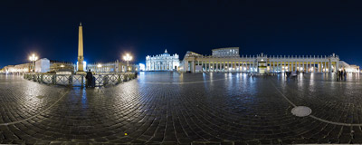 St. Peter's Square in Vatican as seen from the centro del colonnato.  Click to view this panorama in new fullscreen window