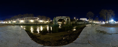 On the southeast end of the Isola Tiberina, Rome's only island, near the single remaining arch of the Pons Aemilius bridge.  Click to view this panorama in new fullscreen window