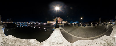 On the Ponte Sant'Angelo bridge over the Tiber river in Rome.  Click to view this panorama in new fullscreen window