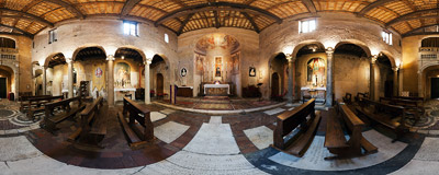 Inside the church of San Benedetto in Piscinula in the Trastevere district of Rome.  Click to view this panorama in new fullscreen window