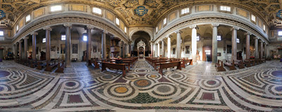Inside the church of San Crisogono in the Trastevere district of Rome.  Click to view this panorama in new fullscreen window