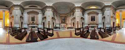 Inside the 19th-century church of San Giovanni della Malva in Rome's Trastevere.  Click to view this panorama in new fullscreen window