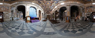 Inside the church of San Marcello on Via del Corso in Rome, Italy.  Click to view this panorama in new fullscreen window