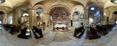 Inside the church of Sant'Onofrio on the slopes of the Janiculum Hill in Rome.  Click to view this panorama in new fullscreen window