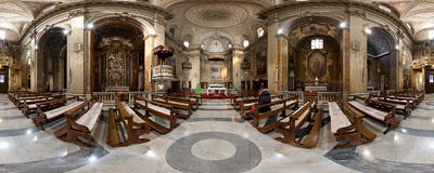 Inside the church of Sant'Eustachio in Rome.  Click to view this panorama in new fullscreen window