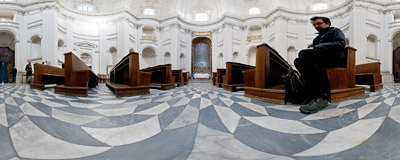 Inside the church of Sant'Ivo alla Sapienza in Rome, a Baroque masterpiece built in 1642-1660 by Francesco Borromini.  Click to view this panorama in new fullscreen window