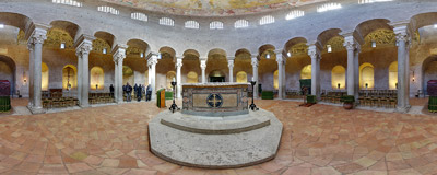 Inside the ancient church of Santa Costanza on Via Nomentana in Rome.  Click to view this panorama in new fullscreen window