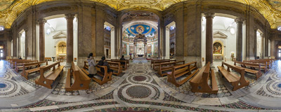 Inside the Basilica of Santa Croce in Gerusalemme in Rome.  Click to view this panorama in new fullscreen window