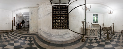 In the crypt, decorated with bones, below the church of Santa Maria dell'Orazione e Morte on Via Giulia in Rome.  Click to view this panorama in new fullscreen window