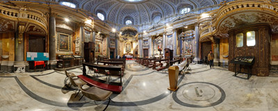 Inside the church of Santa Maria dell'Orazione e Morte (Saint Mary of the Prayer and Death) on Via Giulia in Rome, Italy.  Click to view this panorama in new fullscreen window