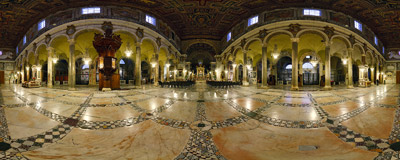 Inside the church of Santa Maria in Aracoeli on the Capitoline Hill in Rome, Italy.  Click to view this panorama in new fullscreen window