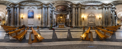 Inside the Baroque church of Santa Maria in Campitelli in the Sant'Angelo district of Rome, Italy.  Click to view this panorama in new fullscreen window