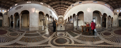 Inside the ancient church of Santa Maria in Cosmedin in Rome, Italy.  Click to view this panorama in new fullscreen window