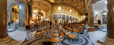 Inside the Basilica of Santa Maria in Trastevere, Rome, Italy.  Click to view this panorama in new fullscreen window