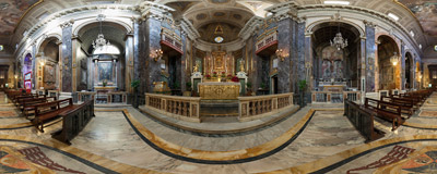 Inside the church of Santa Maria in Via on Via del Mortaro in Rome, Italy.  Click to view this panorama in new fullscreen window