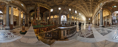 Inside the Basilica of Santa Maria Maggiore in Rome, Italy.  Click to view this panorama in new fullscreen window