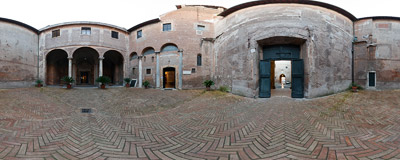 The courtyard in front of the Santi Quattro Coronati church on the Caelian Hill in Rome.  Click to view this panorama in new fullscreen window