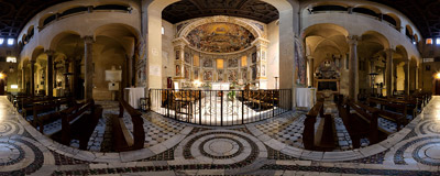 Inside the Santi Quattro Coronati church on the Caelian Hill in Rome.  Click to view this panorama in new fullscreen window