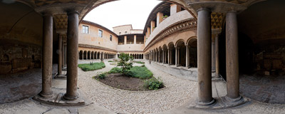 The early 13th-century cloister of the Augustinian abbey by the Santi Quattro Coronati church on the Caelian Hill in Rome.  Click to view this panorama in new fullscreen window