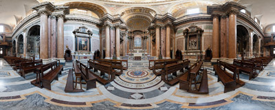 Inside the Church of the Most Holy Trinity of Pilgrims (Chiesa della Santissima Trinità dei Pellegrini) in the Regola rione of Rome.  Click to view this panorama in new fullscreen window