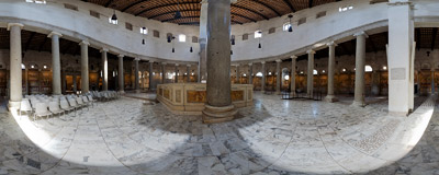 Inside the ancient basilica of Santo Stefano Rotondo on the Caelian Hill in Rome.  Click to view this panorama in new fullscreen window