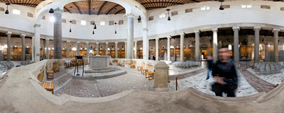 Inside the Santo Stefano Rotondo church on the Caelian Hill in Rome.  Click to view this panorama in new fullscreen window