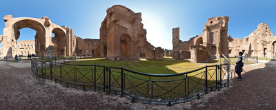 In the ruins of the Baths of Caracalla, the largest of Roman public baths.  Click to view this panorama in new fullscreen window