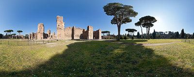 In the Baths of Caracalla, the largest of Roman public baths, built in the 3rd century and destroyed during the Gothic War some 300 years later.  Click to view this panorama in new fullscreen window