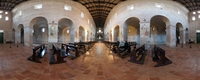 Inside the Romanesque church of Santi Vincenzo e Anastasio in the Tre Fontane Abbey in Rome.  Click to view this panorama in new fullscreen window