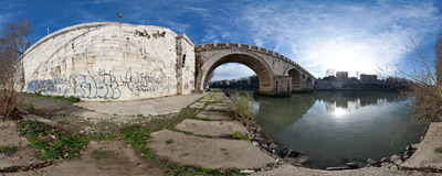 The banks of the Tiber under the Ponte Sisto bridge in Rome.  Click to view this panorama in new fullscreen window