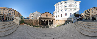 On the stairs leading down from Via Nazionale to the 5th-century Basilica di San Vitale in Rome.  Click to view this panorama in new fullscreen window