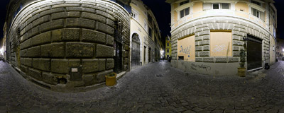Vicolo di Montevecchio: a typical narrow street of Rome's centro storico.  Click to view this panorama in new fullscreen window