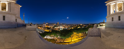 The night view from a terrace of Il Vittoriano towards the Imperial Fora in Rome.  Click to view this panorama in new fullscreen window