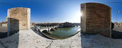 The view from one of the bastions of Castel Sant'Angelo over the Tiber river with the famous Bernini bridge.  Click to view this panorama in new fullscreen window