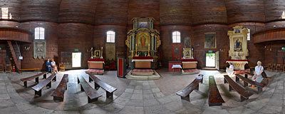 Kraków - wooden church of St. Margaret and St. Judith in Salwator.  Click to view this panorama in new fullscreen window