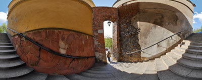 14th century Dominican Gate, commonly called the Needle's Eye.  Click to view this panorama in new fullscreen window